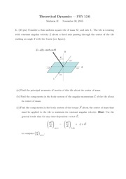 Sample Midterm Exam 2-3 on Theoretical Dynamics