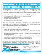 Field Service  Electrical Technician
