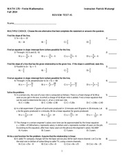 Math 170 Test 1 Study Guide