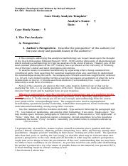 1 Case Study Analysis Template (BA 385) Fall 2014 (2).docx