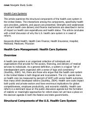 Health Care Systems Research Paper Starter - eNotes