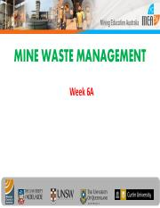 Week 6- Lecture 6A Mine Waste Disposal