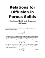 Relations for Diffusion in Porous Solids (bulk and knudsen combined)