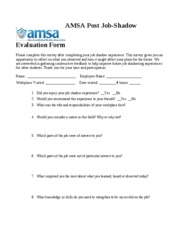 Job Shadow Evaluation Form