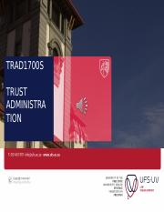 TRAD1700S Slides 3 - The administration of trusts 2016
