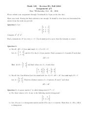Assignment #5 -Math 125 -Section B1 -  Fall 2016