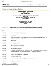 Code of Federal Regulations _ HHS