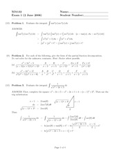 Exam 1 Solution Spring 2006 on Calculus II