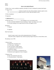 Chapter 9 Class Notes Judicial Branch