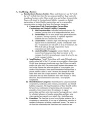 BUL 4310 Exam 1 Establishing a Business Notes