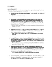 L'Autre femme Study guide for quiz with answers