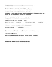 Research Worksheet In Class