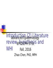 1.2 Introduction Literature review, hypothesis and WHI