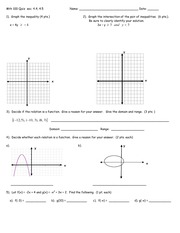 Quiz 1 Spring 2011 on Precalculus