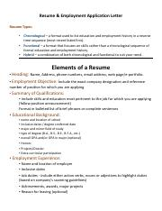 Resume and Employment Application Letter - Notes