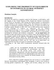 EXPLORING THE PROPRIETY OF EQUILIBRIUM OF INTERESTS IN GLOBAL INTERNET GOVERNANCE.doc