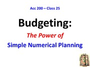 PRE Class 25 --Budgeting The Power of Simple Numerical Planning