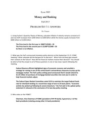 Money and Banking Problem Set 3.1 Answers