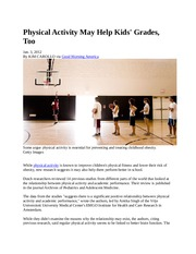 5 Physical Activity May Help Kids - Cognition Article #5