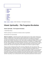 Islamic Spirituality - The Forgotten Revolution