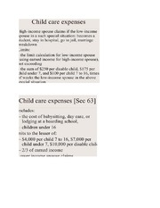 Childcare and moving expenses