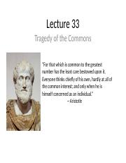Lecture 33 - Tragedy of the Commons