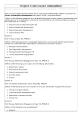 Ch. 13 Project Stakeholder Management Questions