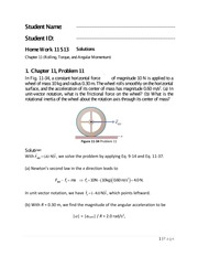 Physics 1 Chapter 11 Homework Solutions