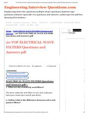 20 TOP ELECTRICAL WAVE FILTERS Questions and Answers pdf ELECTRICAL WAVE FILTERS Questions and Answe