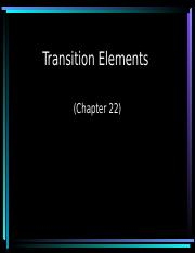 Lecture 18 Transition Elements