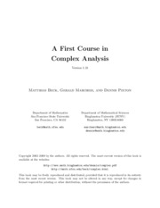 Complex Analysis - A First Course