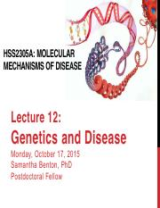Lecture 12 - Genetics and disease_Sam