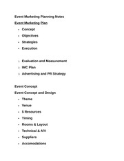 Event Marketing Planning Notes