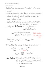 IB CHEM 11 Refraction and Snell's Law Notes