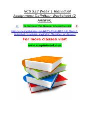 HCS 533 Week 1 Individual Assignment Definition Worksheet (2 Answer).doc