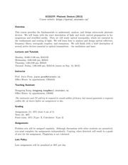 ECE527 Official Fall 2012 Syllabus