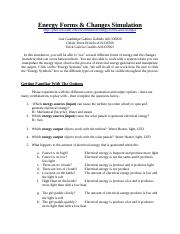 Energy Forms & Changes Simulation Worksheet - Name Period ...