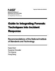 Module 10 - Reading Companion Tutorial 1 - Forensic Techniques into Incident Response - SP800-86
