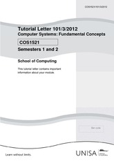 COS1521 Tutorial Letter 101_3_2012