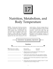 Nutrition, Metabolism, and Body Temperature Regulation Study Guide