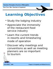 Tourism Principles Ed. 11 Ch06 Hospitality and Related Services