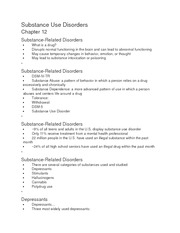 Substance Use Disorders ch 12 Notes