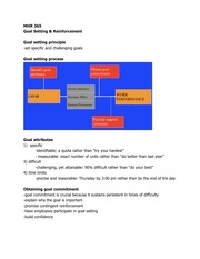 Notes on Goal Setting and Reinforcement