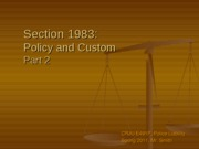 Section 1983-Policy and Custom Part 2