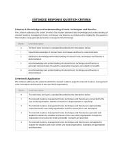 EXTENDED RESPONSE QUESTION CRITERIA