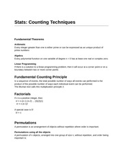 Statistics Counting Techniques