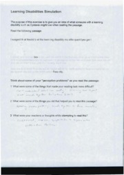 EDS 375 Learning Disability worksheet