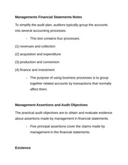 Managements Financial Statements Notes