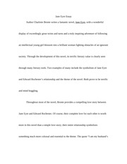 jane eyre      amp amp      eveline     comparison essay   song jane eyre by     pages jane eyre essay