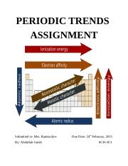 Periodic Trends Assignment